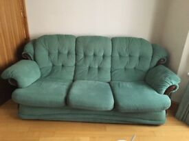 Green 3 seater sofa and x2 armchairs