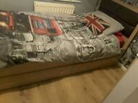 Single bed with mattress and 2 large storage drawers