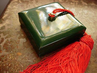 RARE Vintage GUCCI Lacquer GG Enamel RED GREEN Jewelry Decor Box Silk Tassel