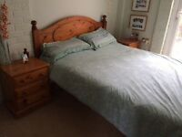 King Size chunky solid pine bed frame £120, ONO