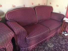 FREE TO GOOD HOME - THREE PIECE SUITE PINK/PLUM -