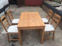 SOLID PINE DINING TABLE & 4 CHAIRS