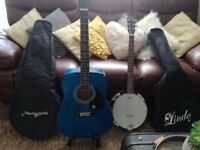 Blue Lindo Acoustic guitar & Martin Smith 6 string Banjo with carry cases & stand