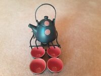 Little tea pot with 4 cups and tea candle warmer