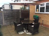 Large Garden Rattan Dining Table and 4 Chairs + Parasol Hanging Umbrella Canopy