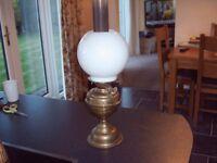VINTAGE BRASS OIL LAMP, ORIGINAL AND NOT POLISHED,
