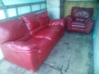 Red leather sofa 3 Seater and Arm chair excellent condition £40