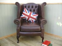 Stunning Brown Leather Chesterfield Queen Anne Chair.