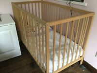 Baby cot - frame, mattress and 2x mattress covers