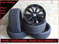 "1659 Genuine 19"" VW Lugano Scirocco Passat CC EOS Black Alloy Wheels & New Tyres"