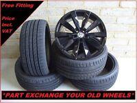 "1659 Genuine 19"" VW Lugano Scirocco Passat CC EOS Black Alloy Wheels & New Tyres"