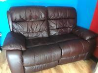 Leather 2 seater reclain sofa