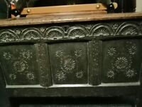 19TH CENTURY (POSSIBLY OLDER) RUSTIC FARMHOUSE STORAGE CHEST/MARRIAGE BOX? WITH LEGS