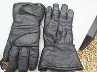 Black Leather Gauntlet Style Motorbike Gloves