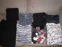 Variety of maternity clothes - shirts, trousers, jacket