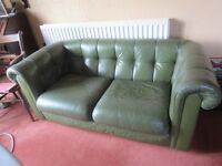 Green leather 2 seater sofa by Wade