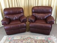 2 Leather Recliner Armchairs Deep Red Oxblood Leather