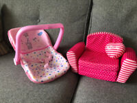 Baby Doll Pink Carrier Car Seat & Sindy Doll Sofa Bed