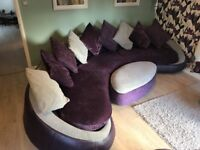 DFS Carousel Luxury sofa footstall & armchair. Fabric & leather purple. Cost £3000, PRICE DROP £350