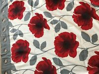 "BEAUTIFUL NEXT RED POPPIES EYELET LINED CURTAINS 90"" x 90"""