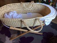Mamas & Papas moses basket with stand & mattress