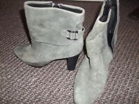 Grey suede ankle boots. Size 6