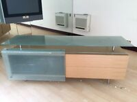 Solidwood and heavy glass sidetable or tv base unit-Millionaire house clearance sale, priced to sell