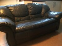 Blue leather sofa to sell - great condition