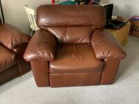 M&S 3 Seater sofa and recliner chair leather
