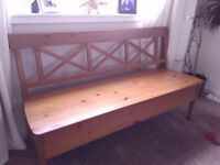 Wooden storage bench for dining room