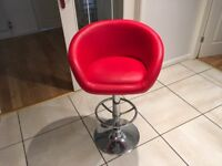 Red faux leather kitchen or bar stool