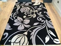 Large Smooth Hand Tufted Rug Grey/Black/Ivory 190cm x 290cm