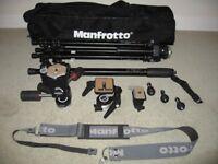 Manfrotto 055C Professional Tripod+Monopod+3 Heads+Accessories