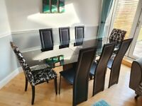 Glass Dining Table & Set of 8 Chairs - Extending Extendable - 6-8 Pers