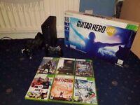 Xbox 360 Slim 250gb Bundle (Brand New & Sealed Guitar) Headset 7 Games GTA