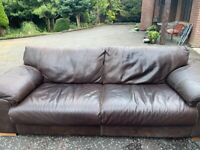 Brown Leather Sofas. Three seater and two seater. RRP £2000