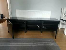 IKEA LED lit TV unit hi gloss black