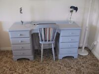 Ducal pine dressing table, desk. 8 drawers and chair to match, painted blue and waxed.