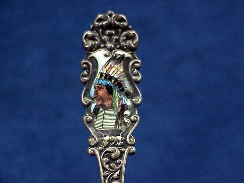 Antique Native American INDIAN CHIEF Enameled Sterling Silver Souvenir Spoon