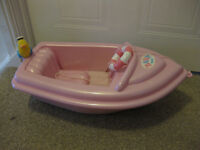 BABY BORN BOAT - on wheels/ pull along - Lovely Condition Zapf Creation - buy with sledge for £22!!!