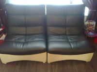 harley used designer real leather 6 big leather chairs and big glass top leather table black cream