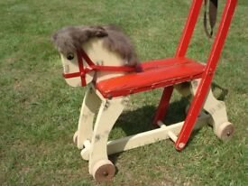 VINTAGE WOODEN HORSE ON WHEELS