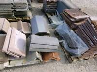Various roofing tiles, ridge cap and slates