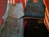 6 PAIRS 44 WAIST MEN'S JEANS, WRANGLERS, OTHERS NEW or NEARLY
