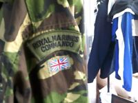ROYAL MARNINES COMMANDO COMBAT JACKET PLUS TROUSERS XL, & SURVIVAL CAP £25, ALSO SUPPLIES BAG