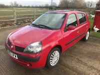Renault Clio 1.2 16v Expression 2002 RED MANUAL PETROL 5 DOOR 1 YEAR MOT