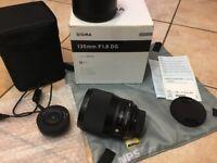Sigma 135mm Art f/1.8 professional lens. Nikon fit. Mint condition. Bargain!