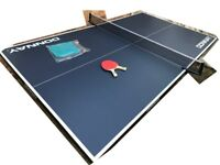 Full-size Table Tennis Table, like new, folds/wheels away for storage with Bats, Net, Cover