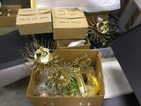 3 Gold Finished Chandeliers + 2 Wall fittings with Crystal Droplets