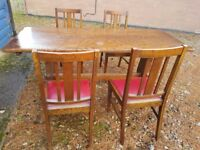 Antique Solid Oak Refectory Table and 4 lovely matching chairs would seat 8 easily